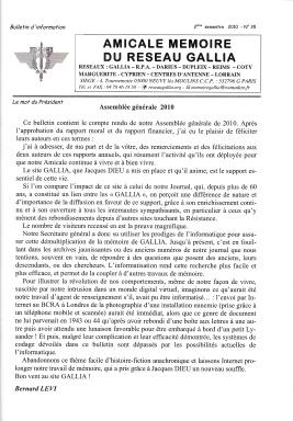 Amicale Mémoire du Réseau Gallia, n° 35 (périodique)