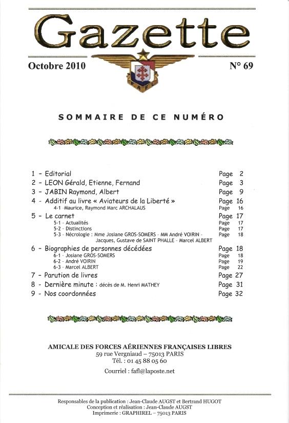 Gazette de l'Amicale des FAFL, n° 69 (périodique)