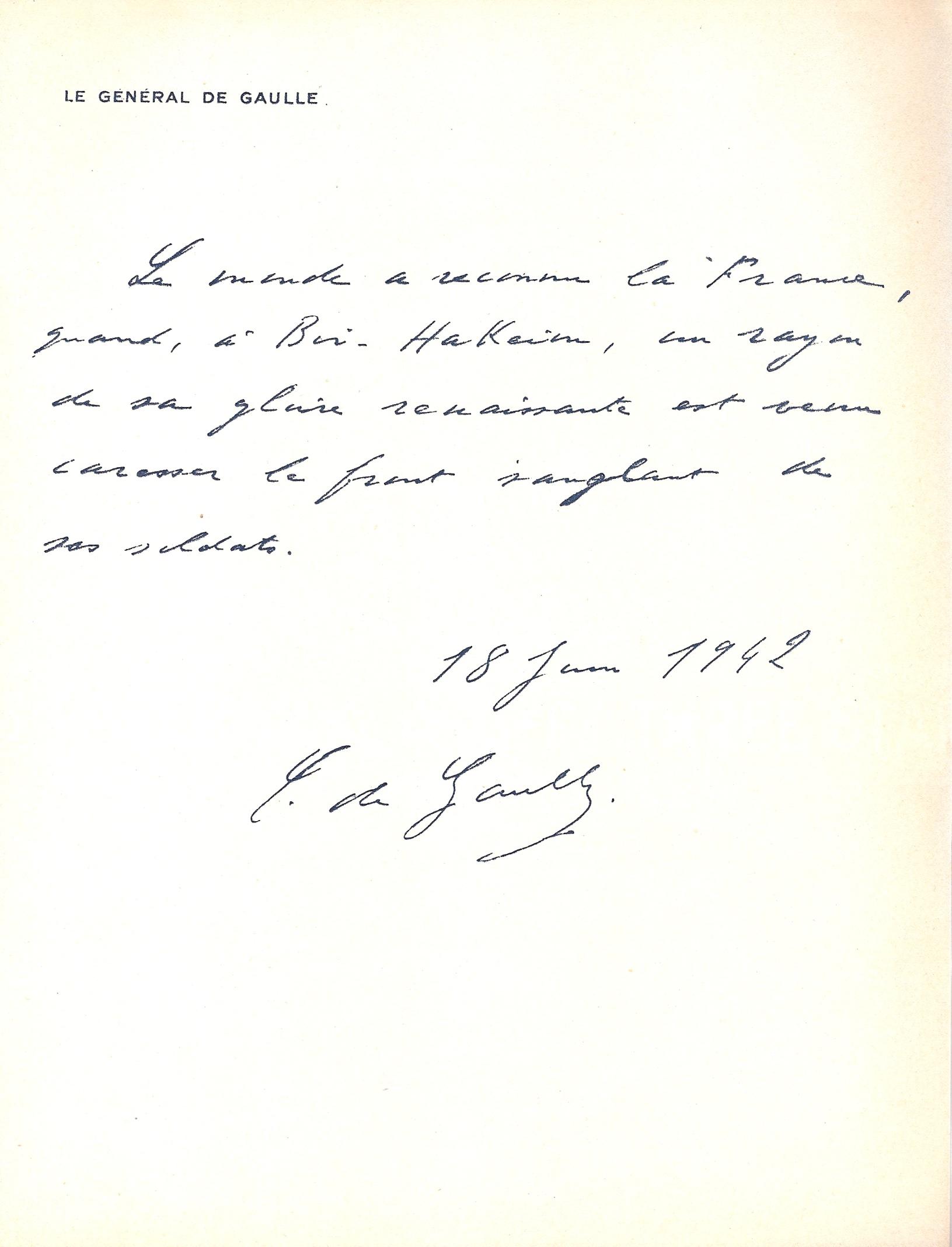 Lettre du général de Gaulle (juin 1949)
