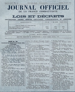 Journal officiel de la France Combattante, n° 9, 28 août 1942 (RFL).