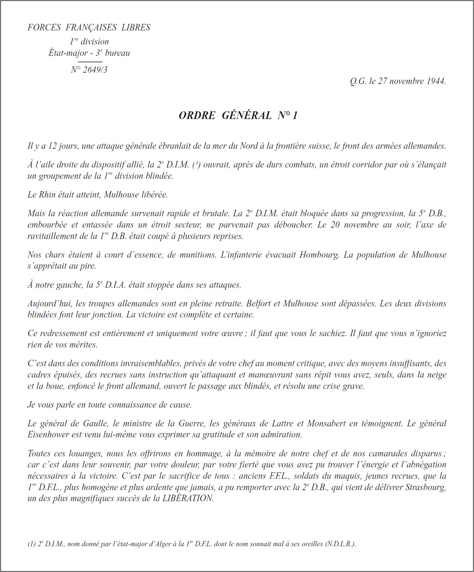 L'ordre général n° 1 du 27 novembre 1944