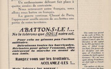 Un document sur la libération de Paris