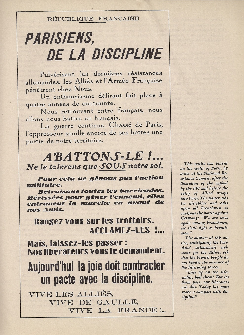 Un document sur la libération de Paris