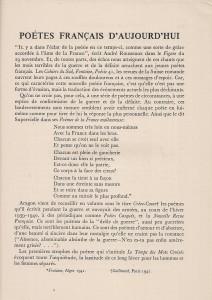 Denise V. Aymé, Poètes français d'aujourd'hui, La France Libre, vol. III, n° 17, 16 mars 1942, p. 423-428