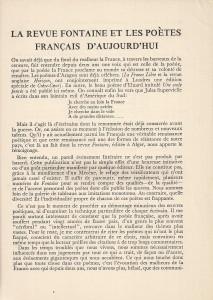 La revue Fontaine et les poètes français d'aujourd'hui