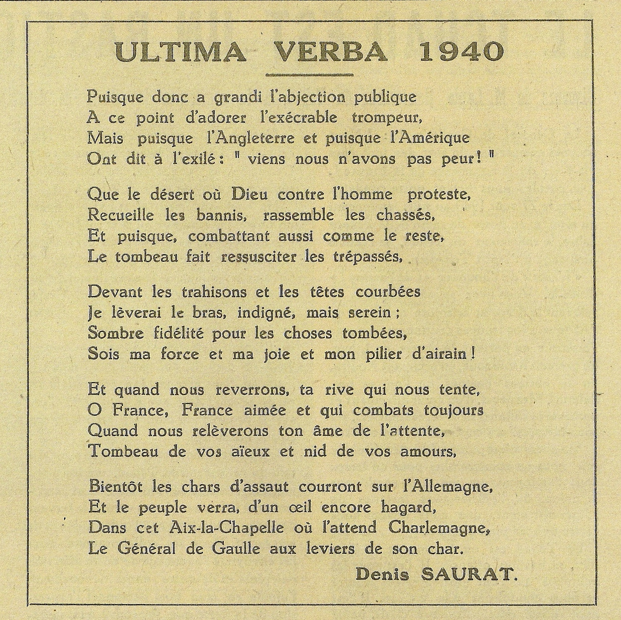 Ultima verba 1940