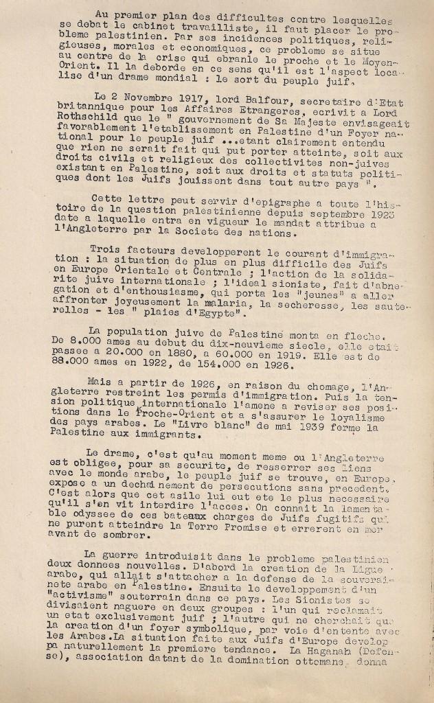 Première page de l'article « Arabes et Juifs », paru dans le « Bulletin de Liaison et d'Information de la 1re DMI » le 4 octobre 1945 (© Fondation de la France Libre).