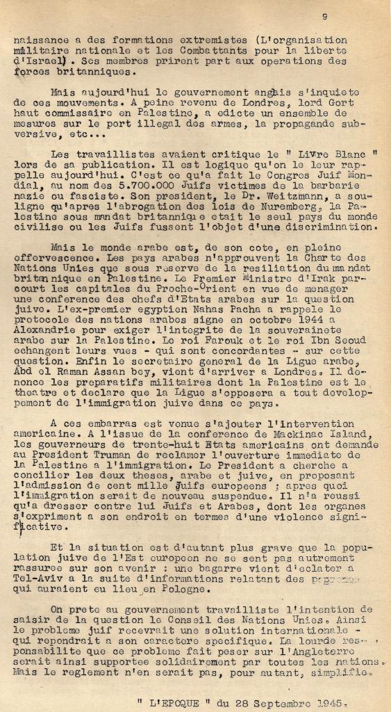 Deuxième page de l'article « Arabes et Juifs », paru dans le « Bulletin de Liaison et d'Information de la 1re DMI » le 4 octobre 1945 (© Fondation de la France Libre).