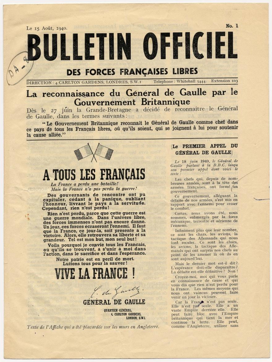 Le Bulletin officiel des Forces françaises libres