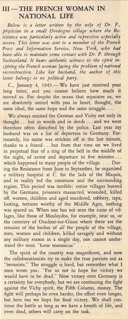 Première page de « La femme française dans la vie nationale », article paru dans « Free France », vol. 7, n° 11, 1er juin 1945, p. 559-560 (© Fondation de la France Libre).
