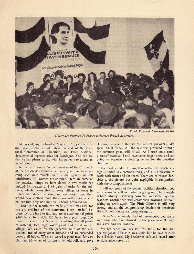 Deuxième page de « La femme française dans la vie nationale », article paru dans « Free France », vol. 7, n° 11, 1er juin 1945, p. 559-560 (© Fondation de la France Libre).