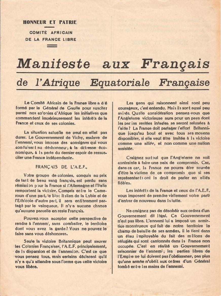Manifeste aux Français de l'Afrique équatoriale française, 20 août 1940
