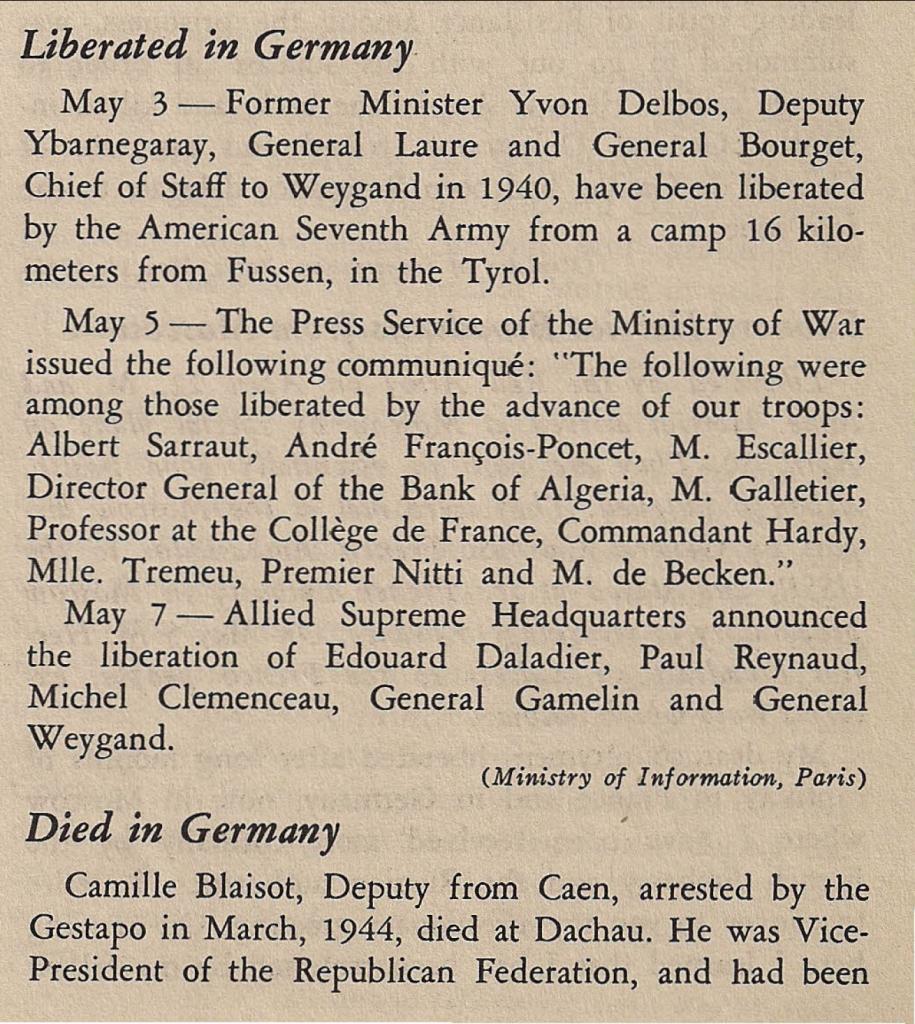 Premier extrait d'articles parus dans « Free France », vol. 7, n° 11, 1er juin 1945, p. 547-548 (© Fondation de la France Libre).