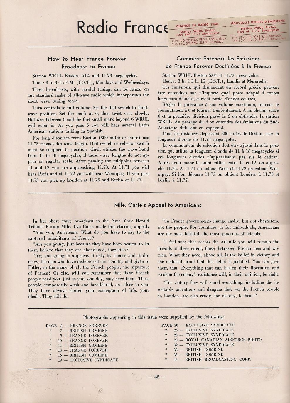 « Radio France » et « British Broadcasting Corporation », France Forever, janvier 1941