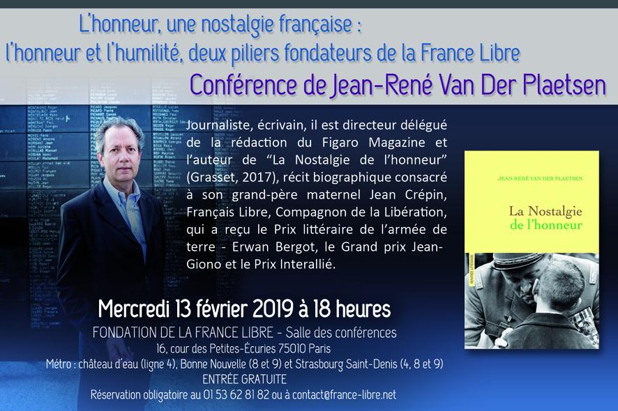 L'honneur, une nostalgie française : l'honneur et l'humilité, deux piliers fondateurs de la France Libre (conférence)