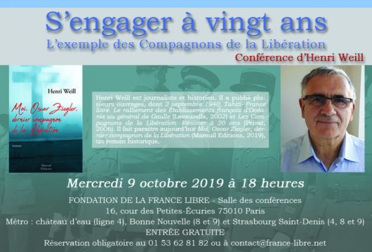 S'engager à vingt ans : l'exemple de Compagnons de la Libération (conférence)
