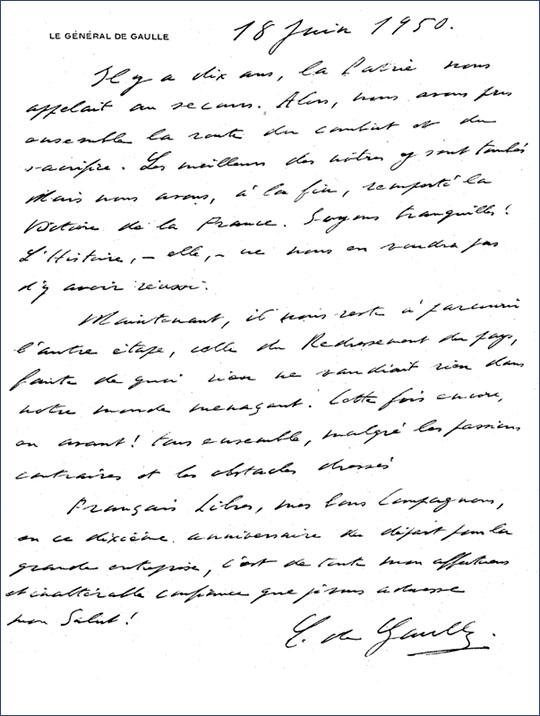 Message de Charles de Gaulle aux Français libres (manuscrit, 1950)
