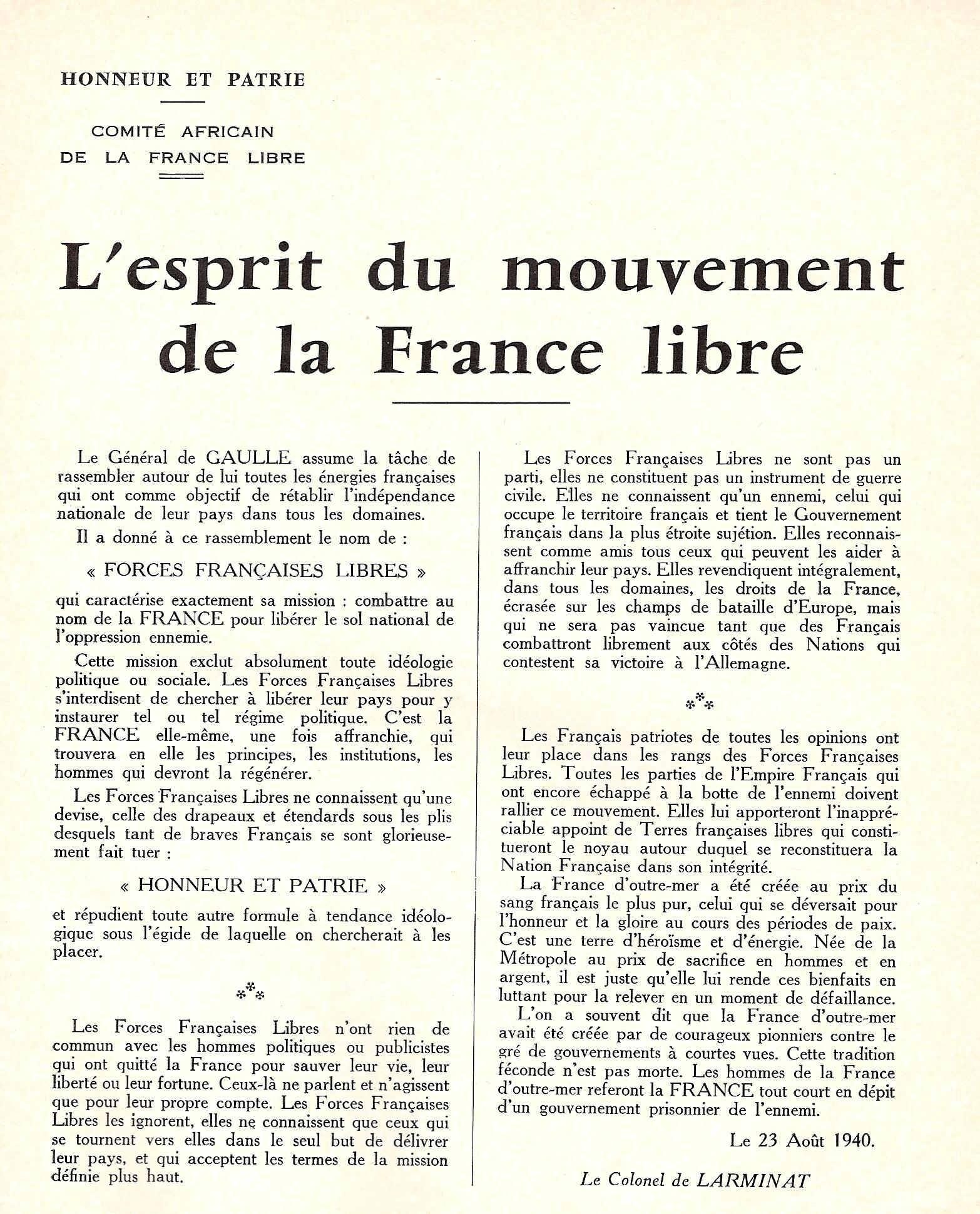 L'esprit du mouvement de la France libre, 23 août 1940