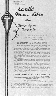 Le Comité de la France Libre du Kenya – Ouganda – Tanganyika – Zanzibar