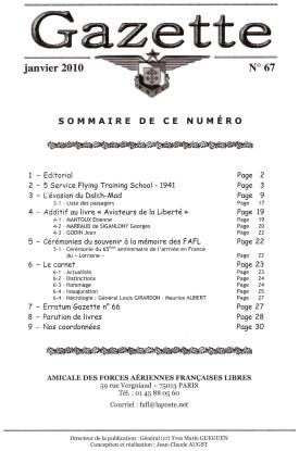 Gazette de l'Amicale des FAFL, n° 67 (périodique)