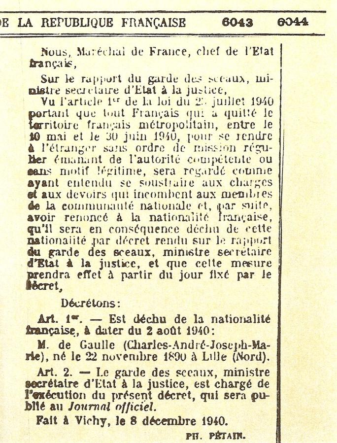 Décret déchoyant Charles de Gaulle de la nationalité française (8 décembre 1940)