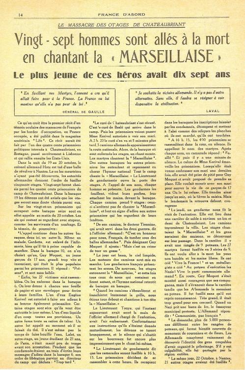 L'écho dans la France Libre de la répression allemande en France
