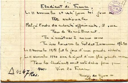 Hommage aux élèves et étudiants de la manifestation du 11 novembre 1940 (cérémonie)