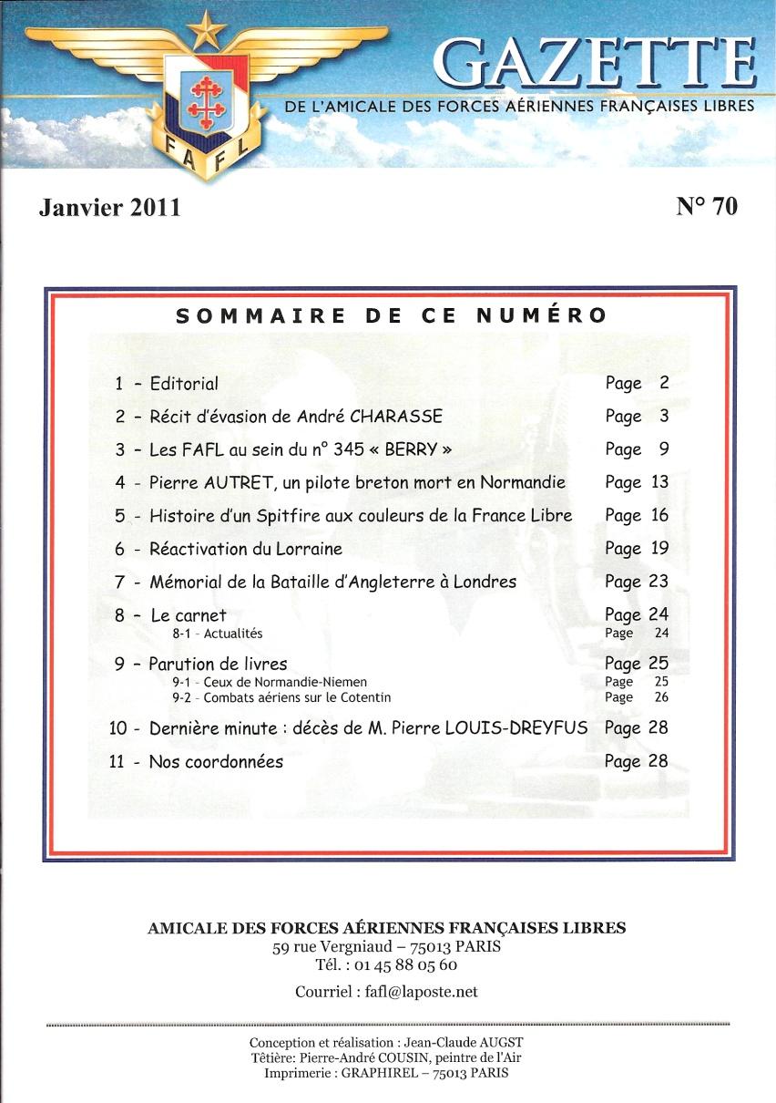 Gazette de l'Amicale des FAFL, n° 70 (périodique)