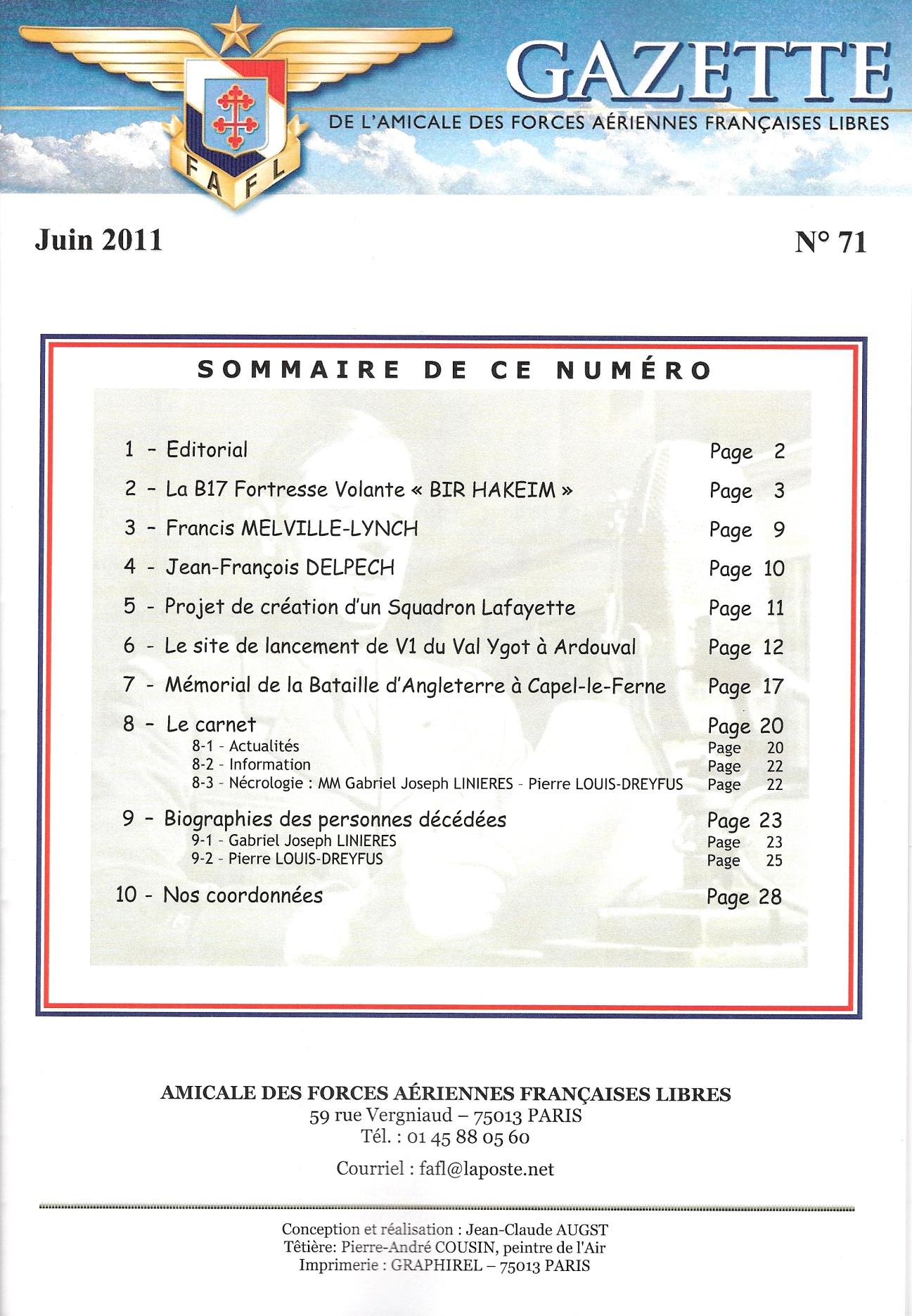 Gazette de l'Amicale des FAFL, n° 71 (périodique)