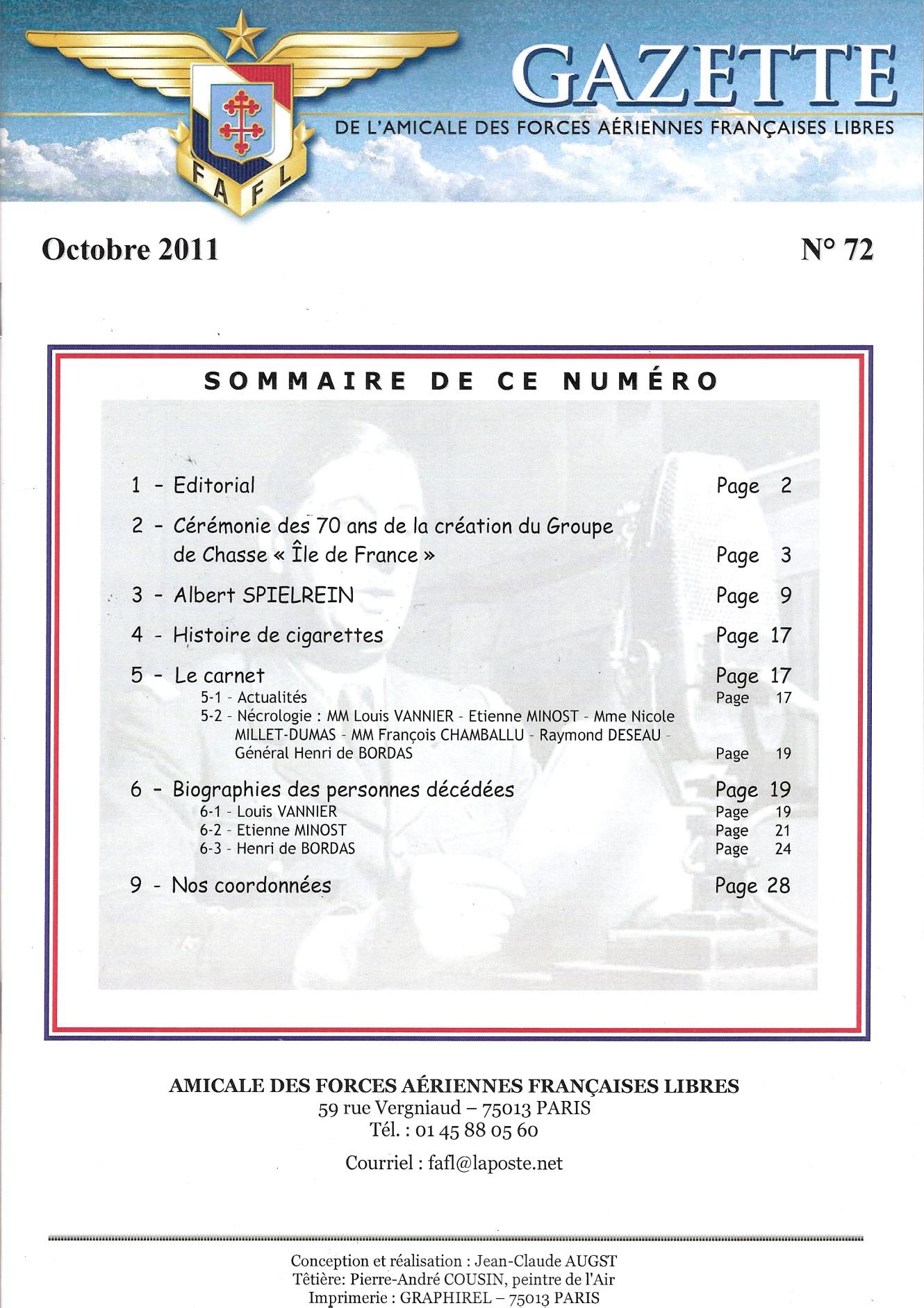 Gazette de l'Amicale des FAFL n° 72 (périodique)