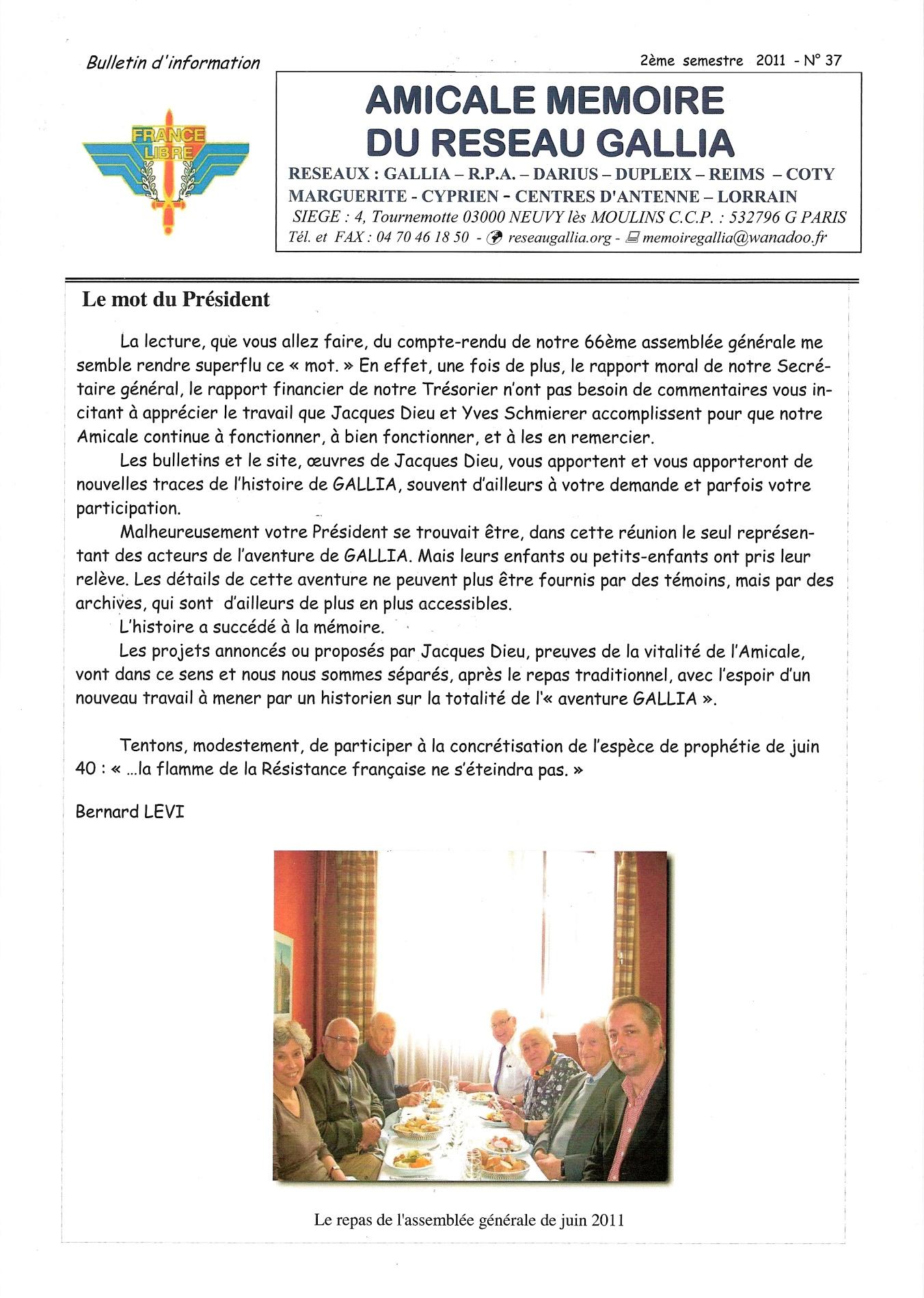 Amicale Mémoire du Réseau Gallia, n° 37 (périodique)