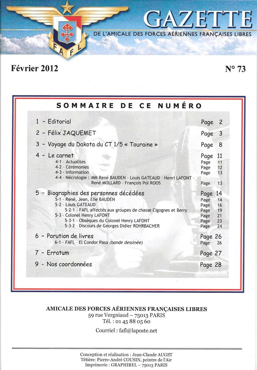 Gazette de l'Amicale des FAFL n° 73 (périodique)