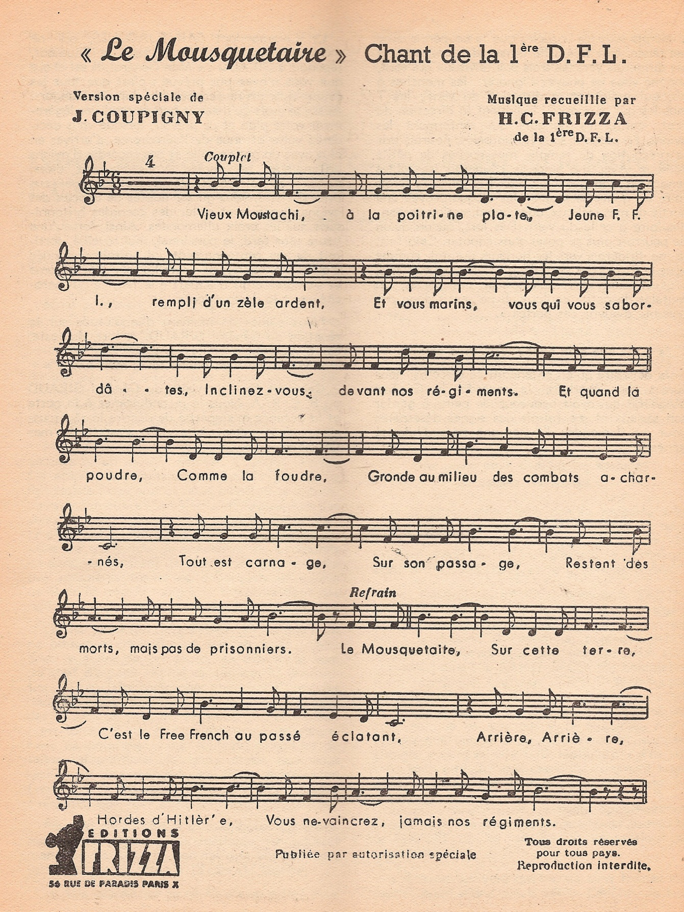 Apprenez, chantez « Le Mousquetaire », chant de la 1re D.F.L.