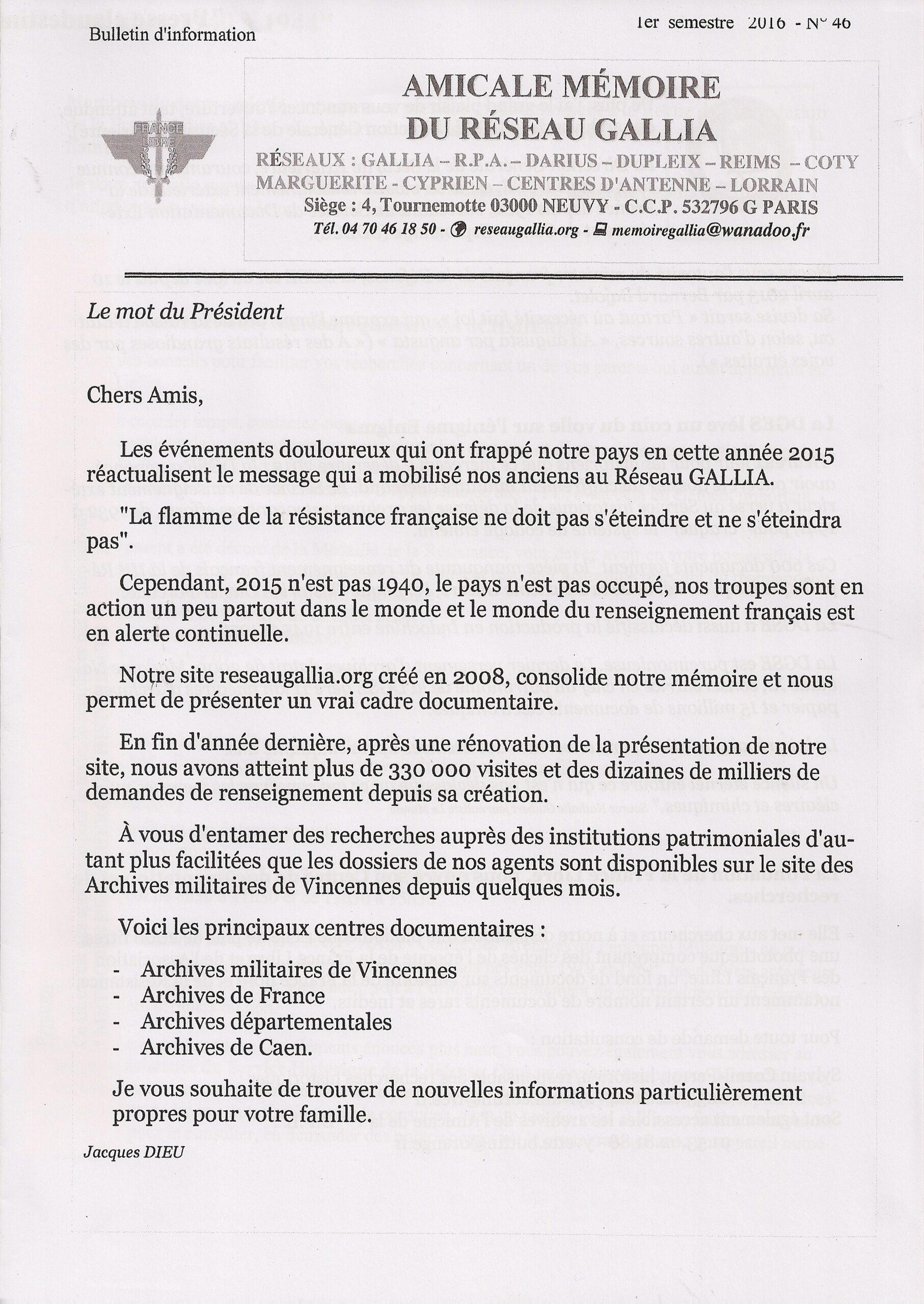 Amicale Mémoire du Réseau Gallia, n° 46 (périodique)