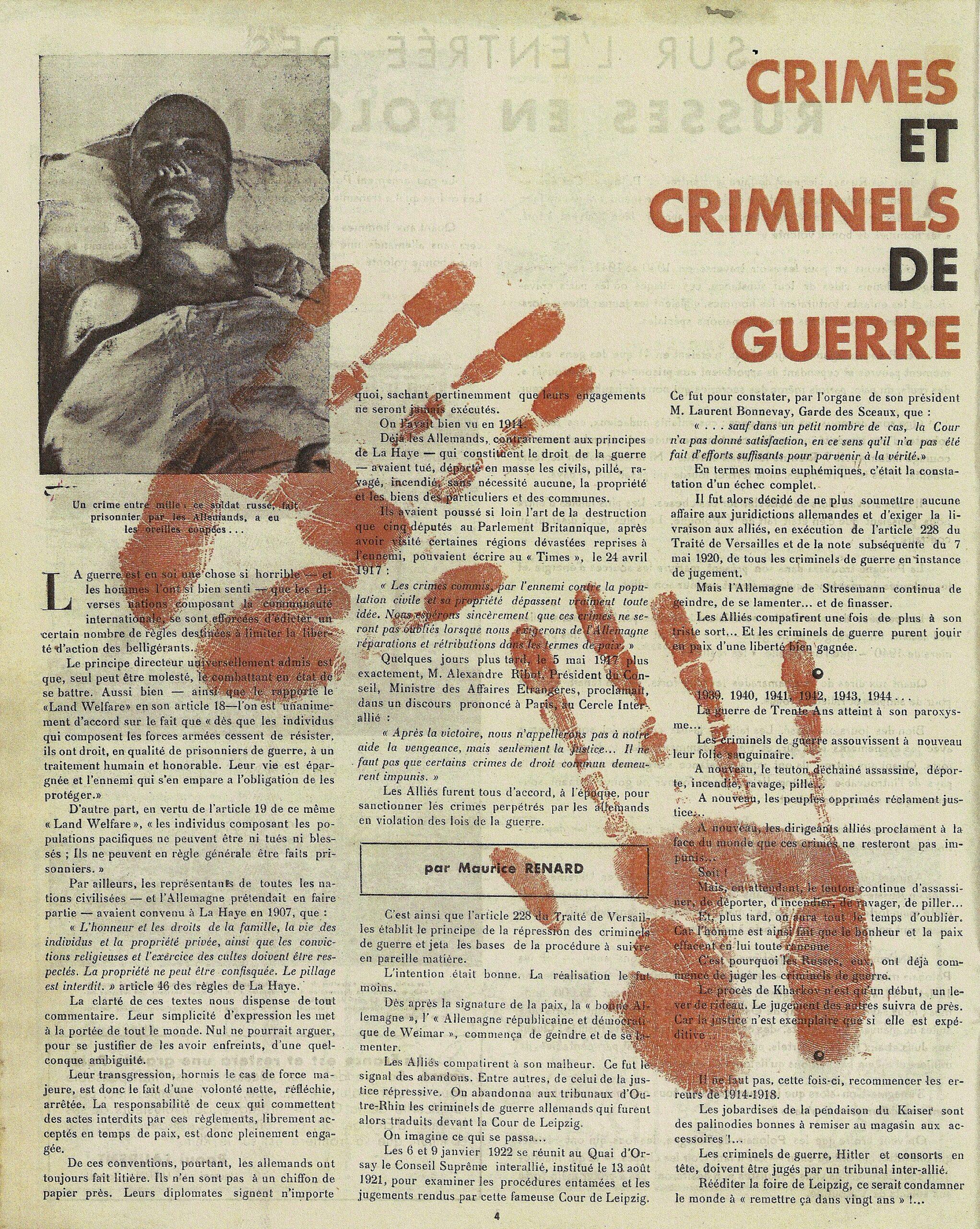 Crimes et criminels de guerre