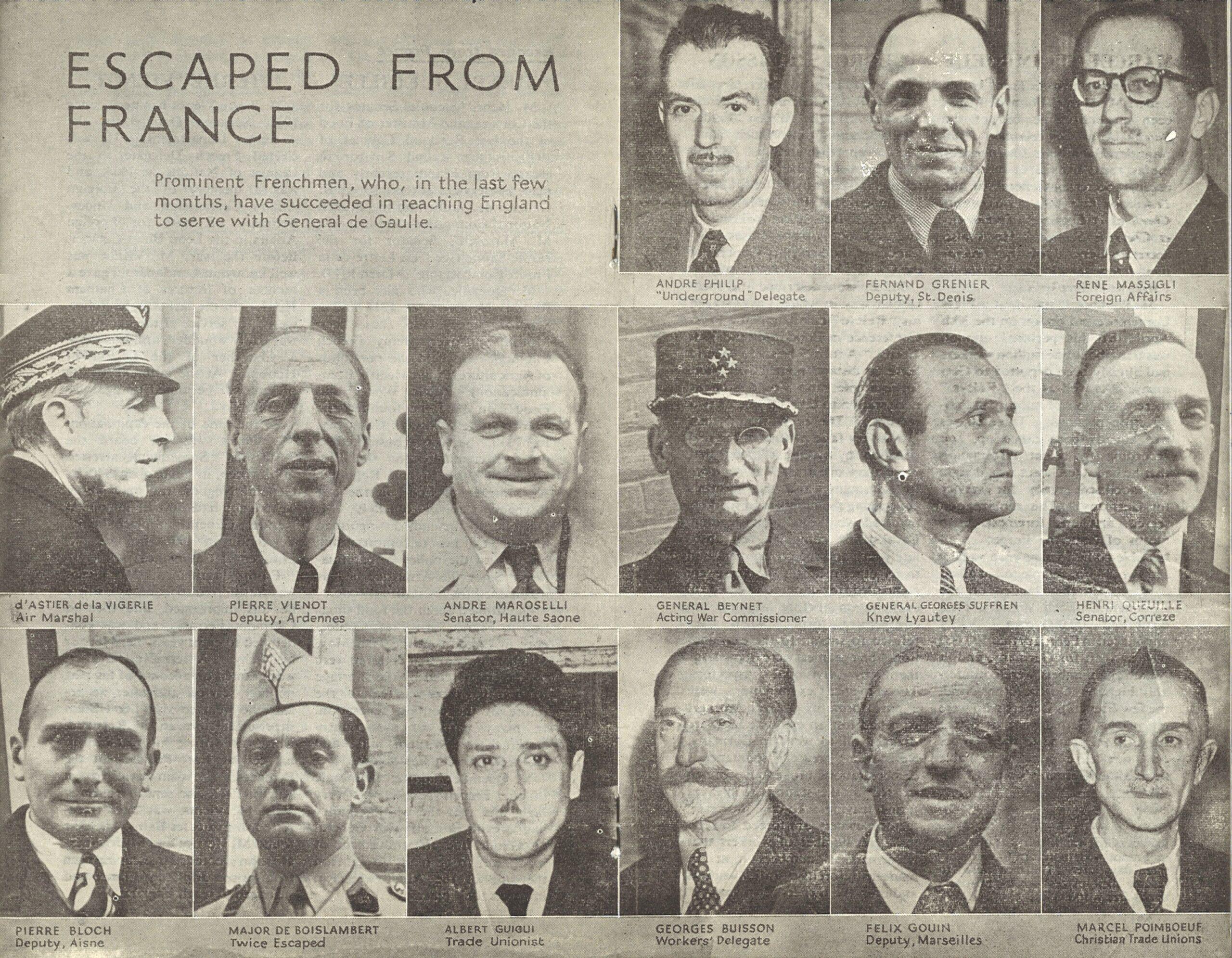 L'évasion de politiques, de syndicalistes et de militaires