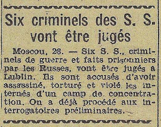 La punition des criminels avant même la fin de la guerre