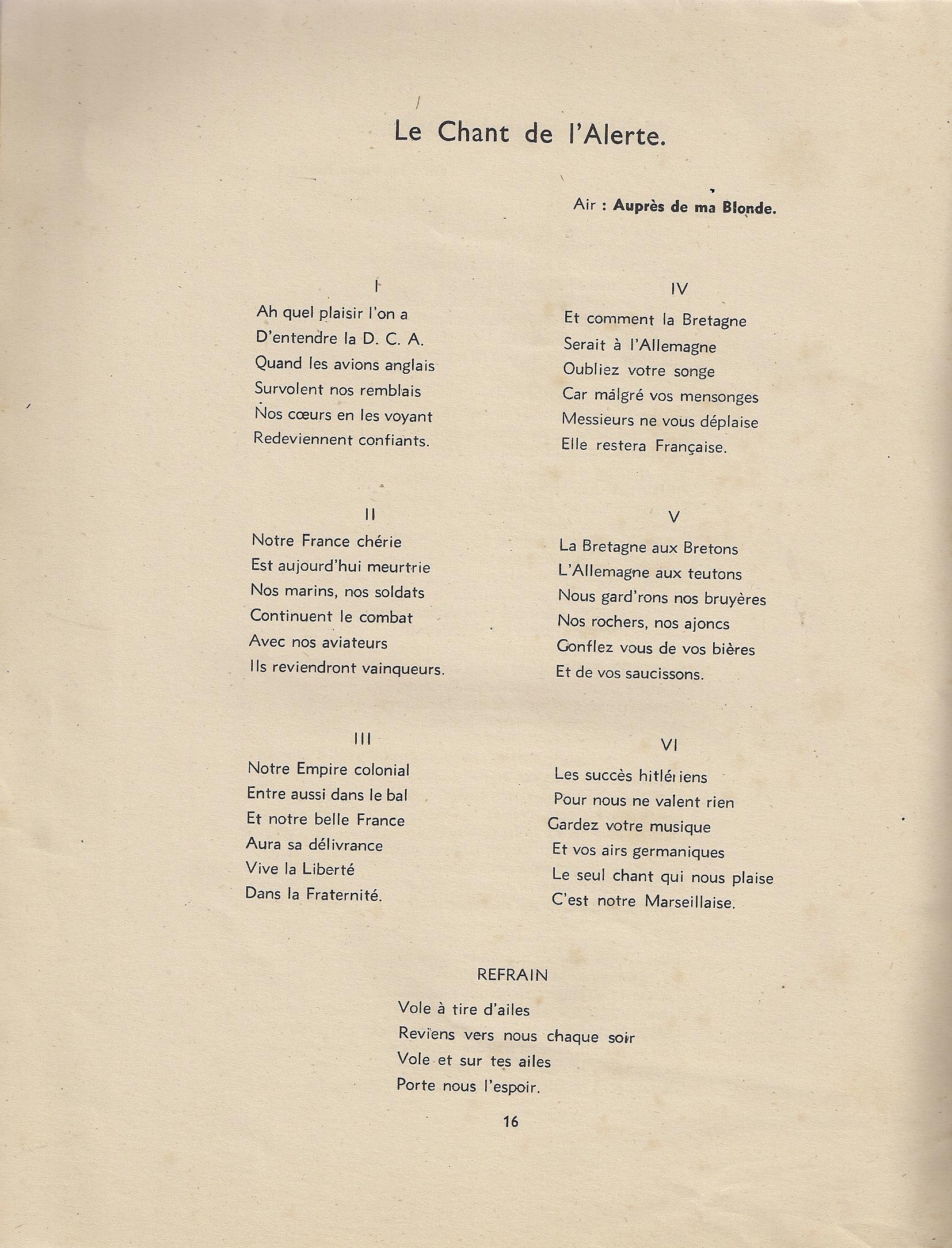 Chansons publiées dans la presse de la France Libre