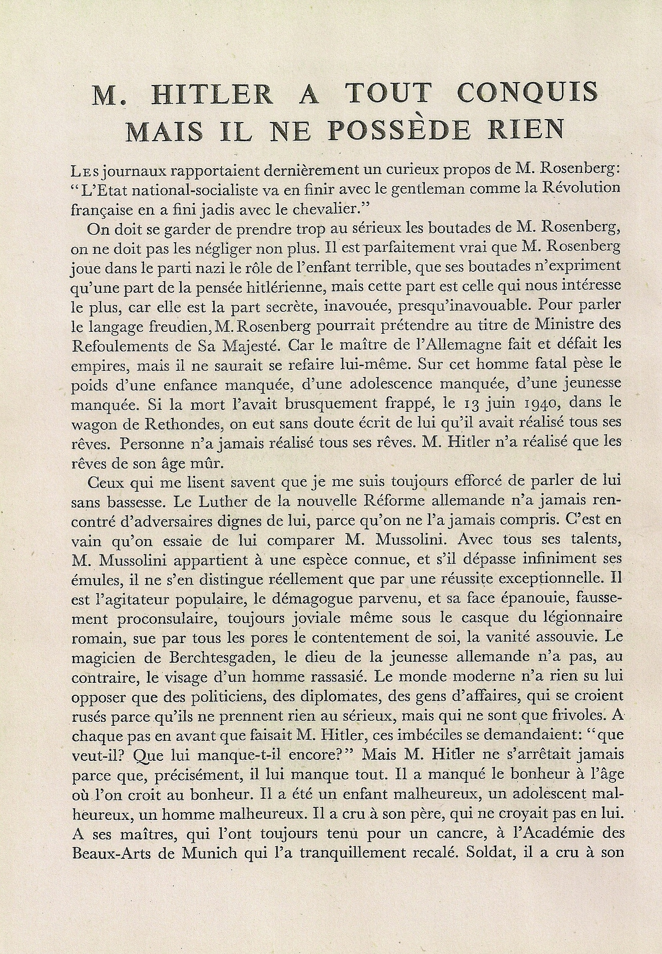 Bernanos contre le racisme nazi