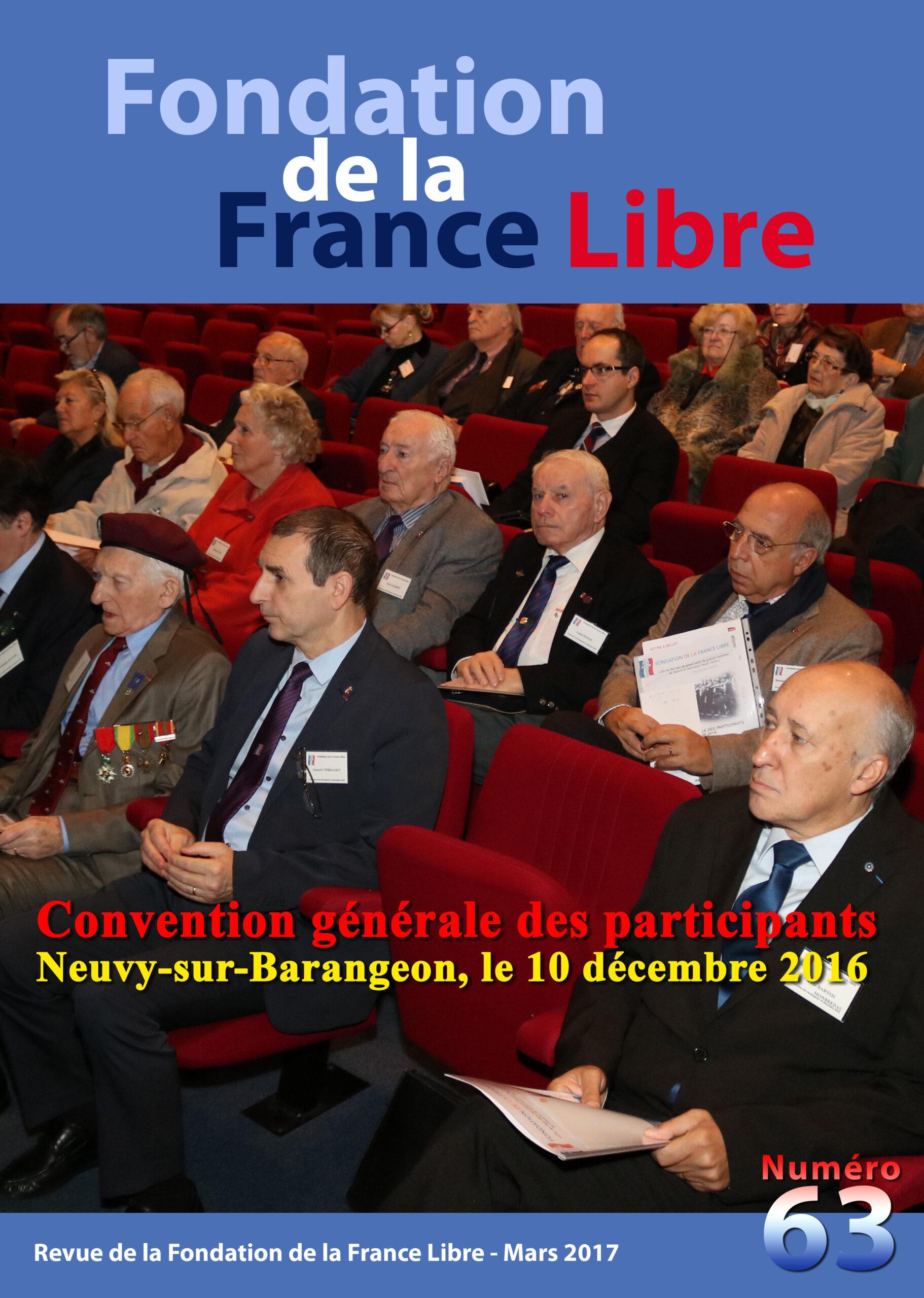 Fondation de la France Libre, n° 63, mars 2017