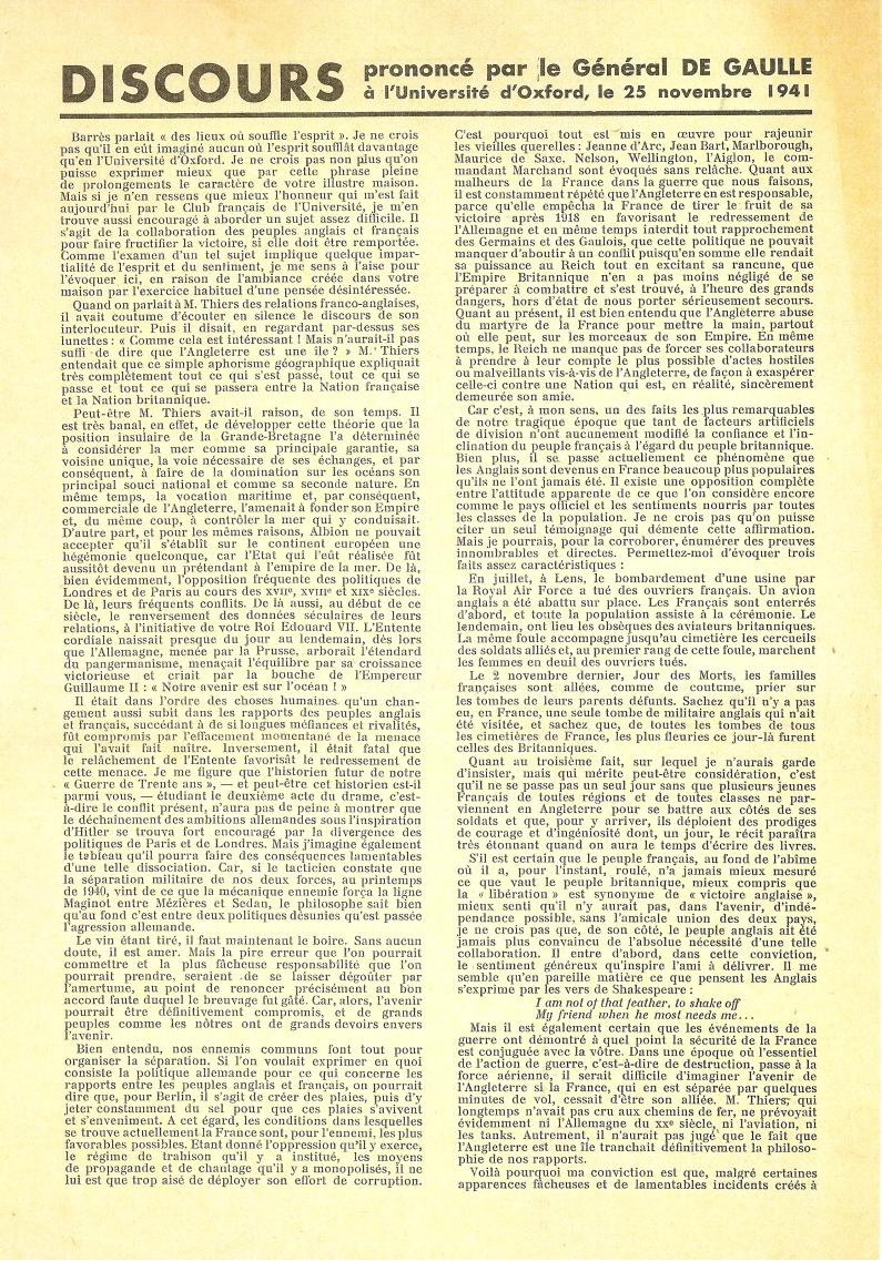 Discours prononcé par le général de Gaulle à l'université d'Oxford le 25 novembre 1941