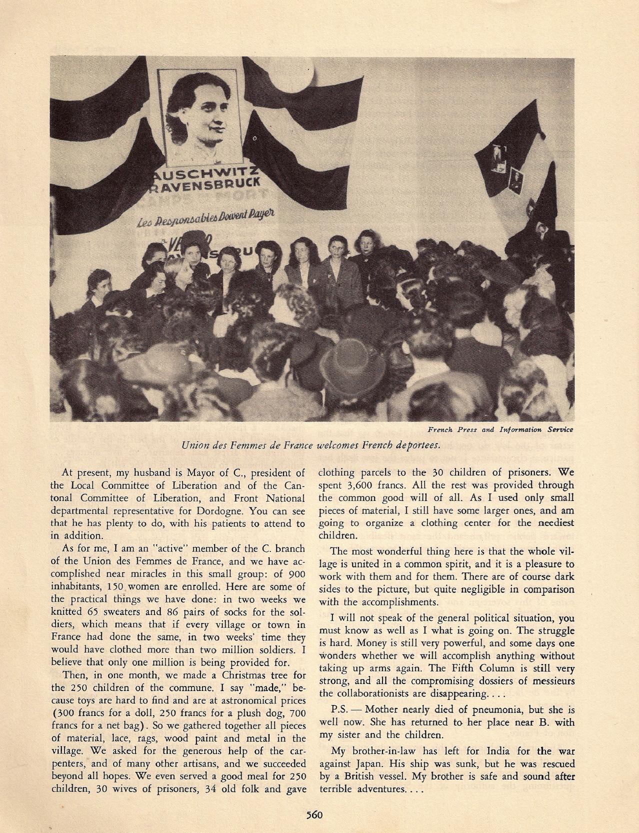 Le rôle de l'Union des femmes de France