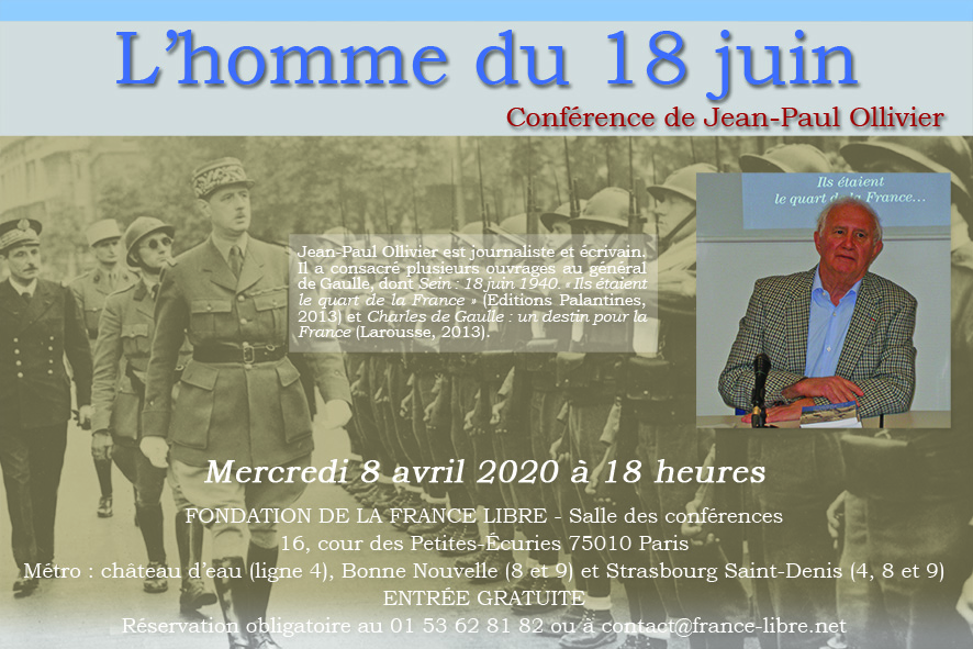 Annulation de la conférence du 8 avril 2020
