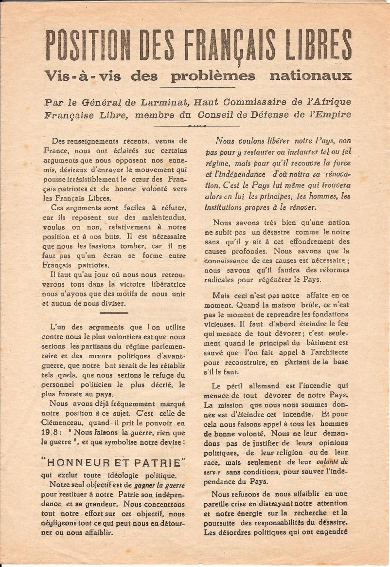 Position des Français Libres vis-à-vis de problèmes nationaux