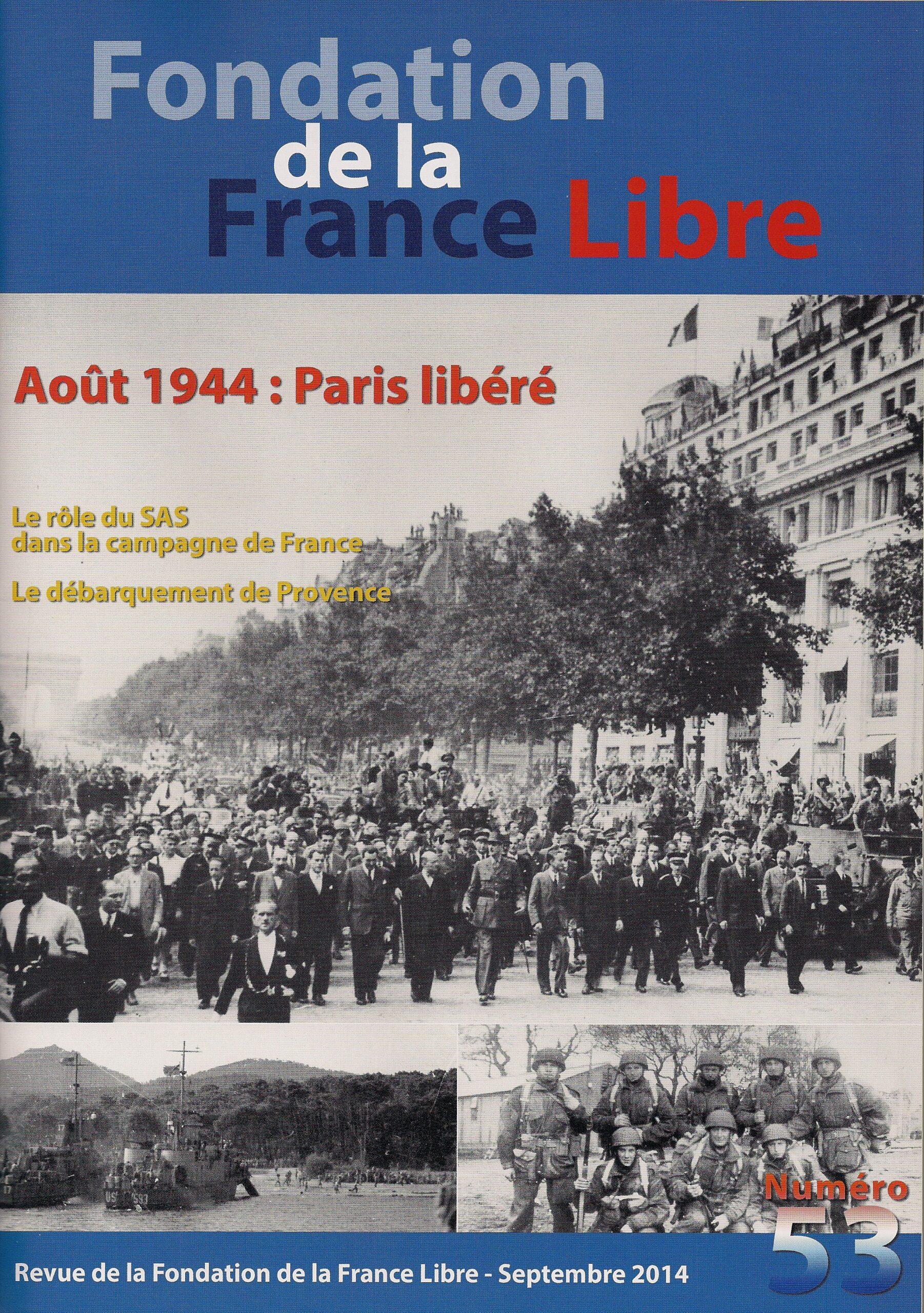 Fondation de la France Libre, n° 53, septembre 2014