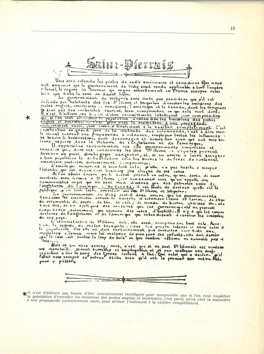 Tract sur la politique collaborationniste à Saint-Pierre