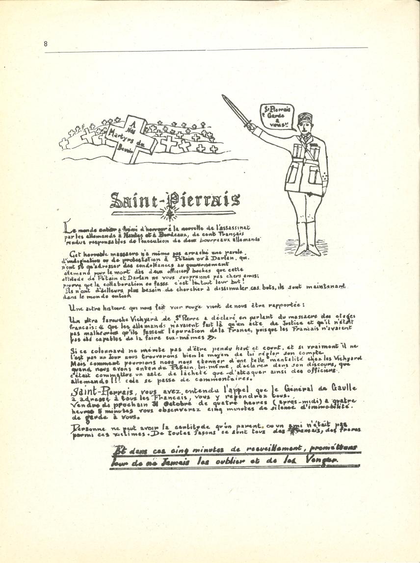 Tract appelant à cinq minutes de recueillement pour les fusillés de Nantes et de Bordeaux