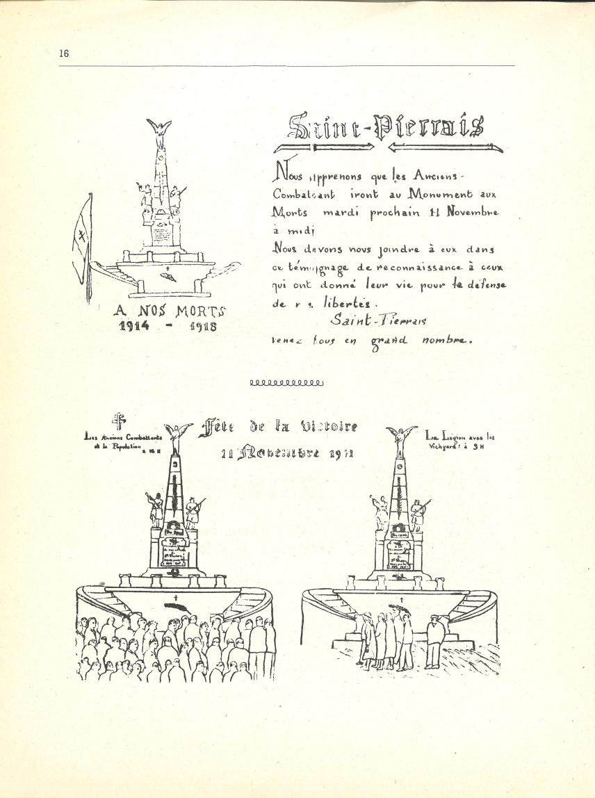 Tracts consacrés à la cérémonie du 11 novembre