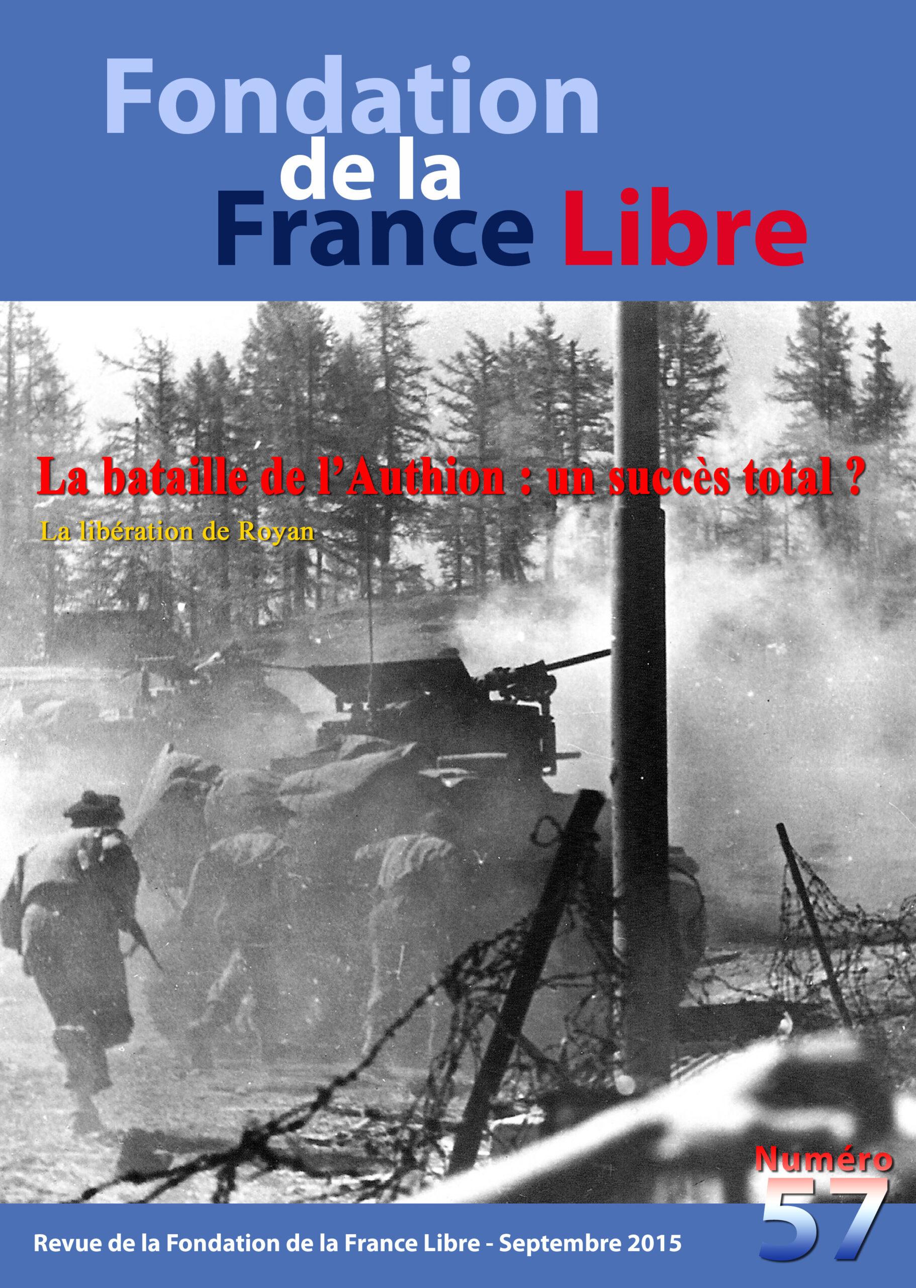 Fondation de la France Libre, n° 57, septembre 2015