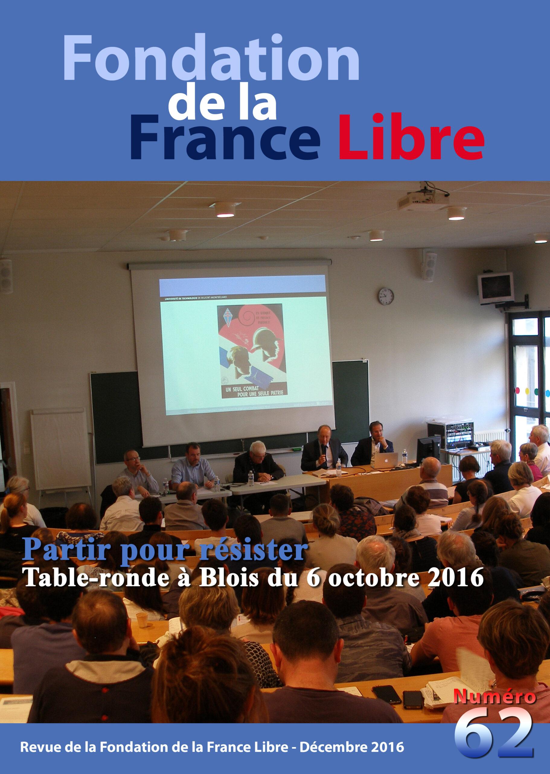 Fondation de la France Libre, n° 62, décembre 2016